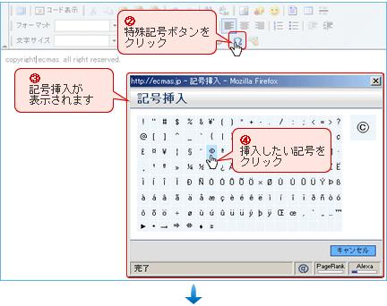 記号挿入操作方法画面