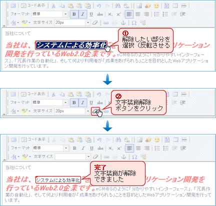文字装飾解除操作方法画面