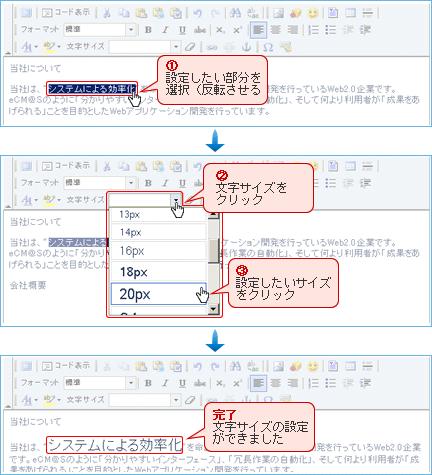 文字サイズ設定方法操作画面